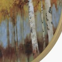 75cm Wood Abstract Wall Art Mustard And Gold